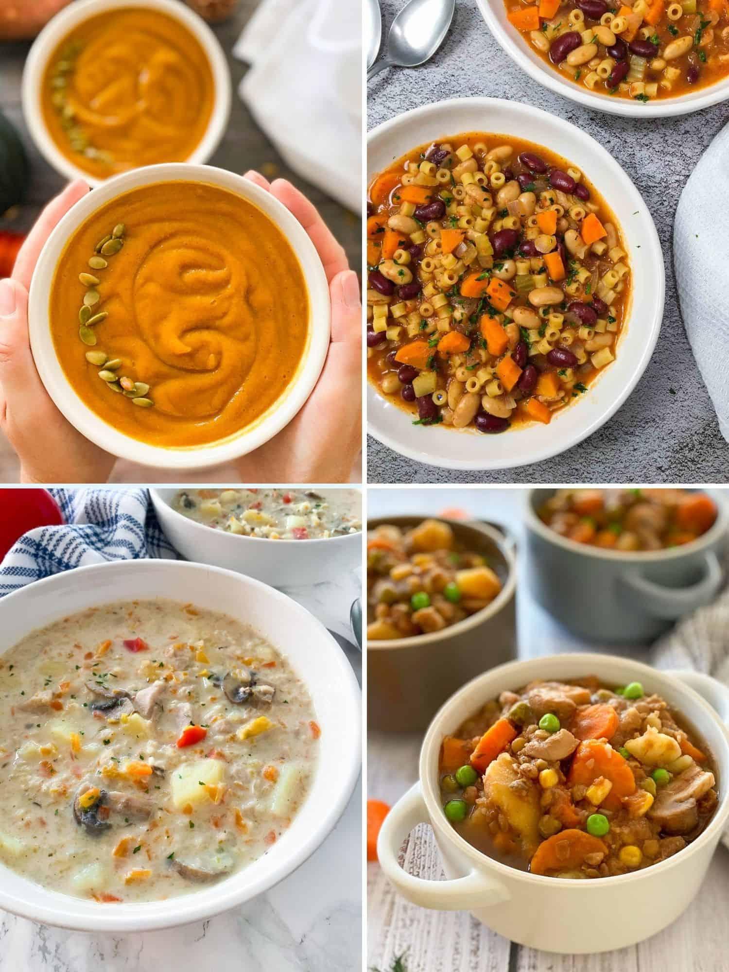 Collage of vegan soup recipes: pumpkin, pasta fagioli, chicken potato, mushroom stew.