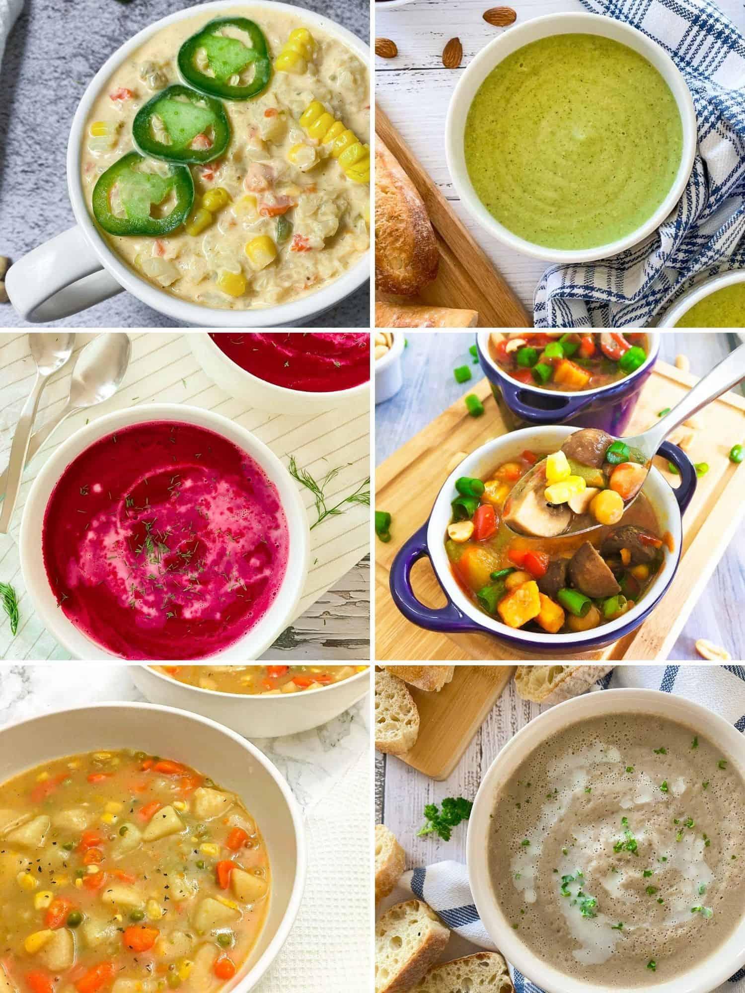 Collage of vegan soup recipes: jalapeno, broccoli, beet, thai peanut, veggie. mushroom.