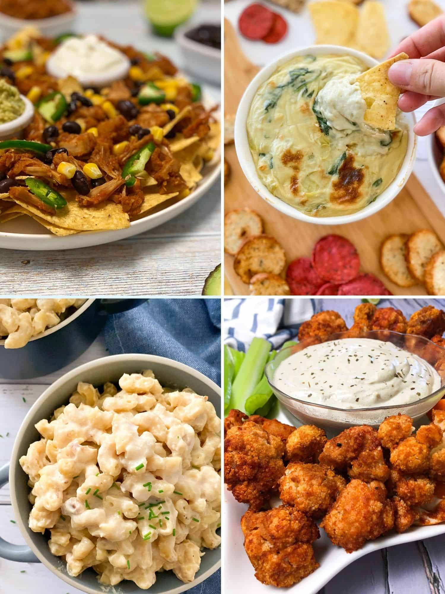 Collage of vegan superbowl food: nachos, dip, mac and cheese, cauliflower wings.