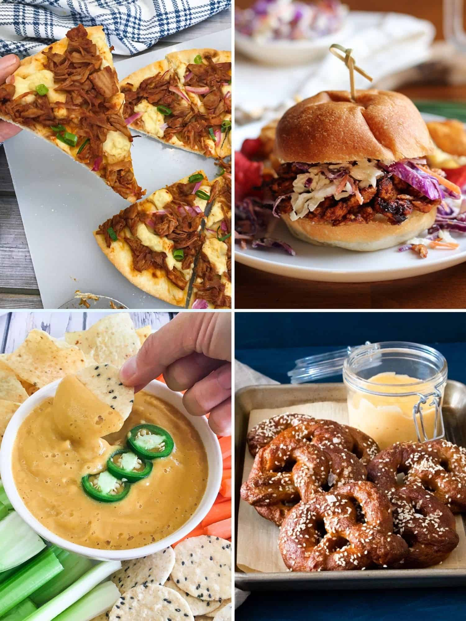 Collage of vegan superbowl food: pizza, sandwich, cheese dip, soft pretzels.
