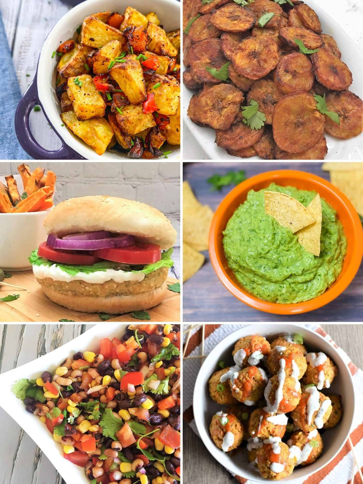 Collage of vegan superbowl food: potatoes, chips, burger, guac, cowboy caviar, meatballs.