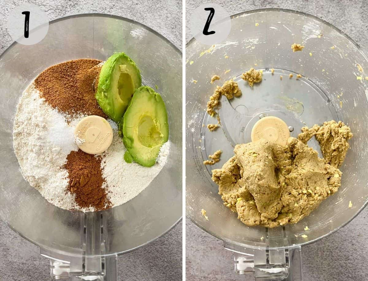 Flour, sugar and avocado in food processor to make dough.