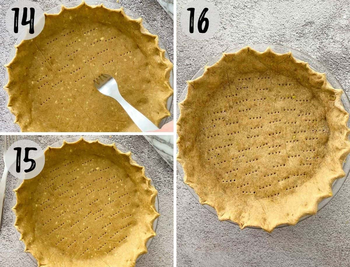 Fork poking holes in bottom of pie crust and then being baked.