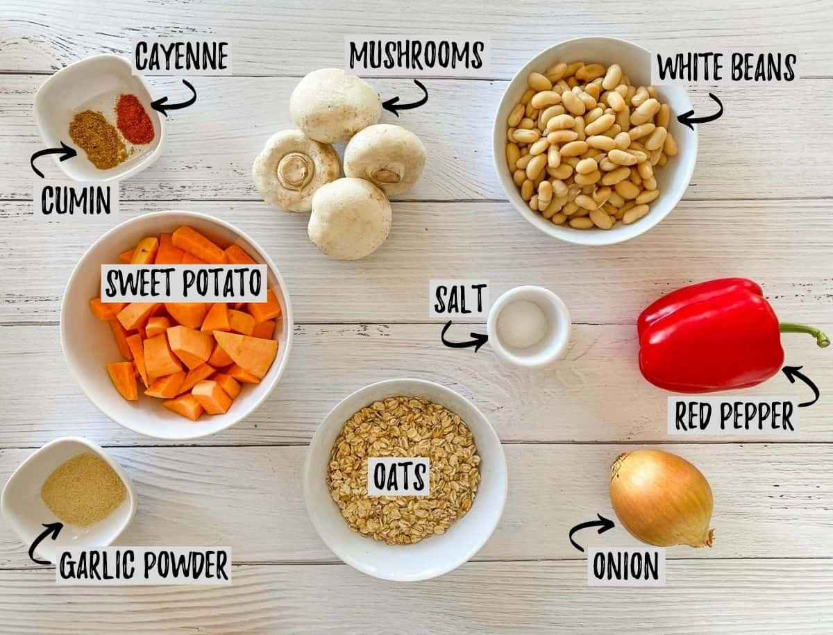 Ingredients needed to make vegan sweet potato burgers on white deck.