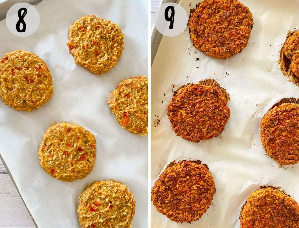 Sweet potato patties on baking tray, before and after cooking.