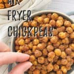 air fryer chickpeas PIN with text overlay.