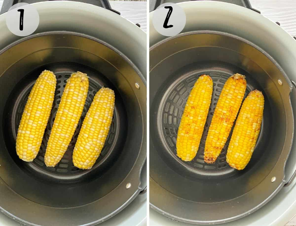 corn on the cob in air fryer before and after cooking.