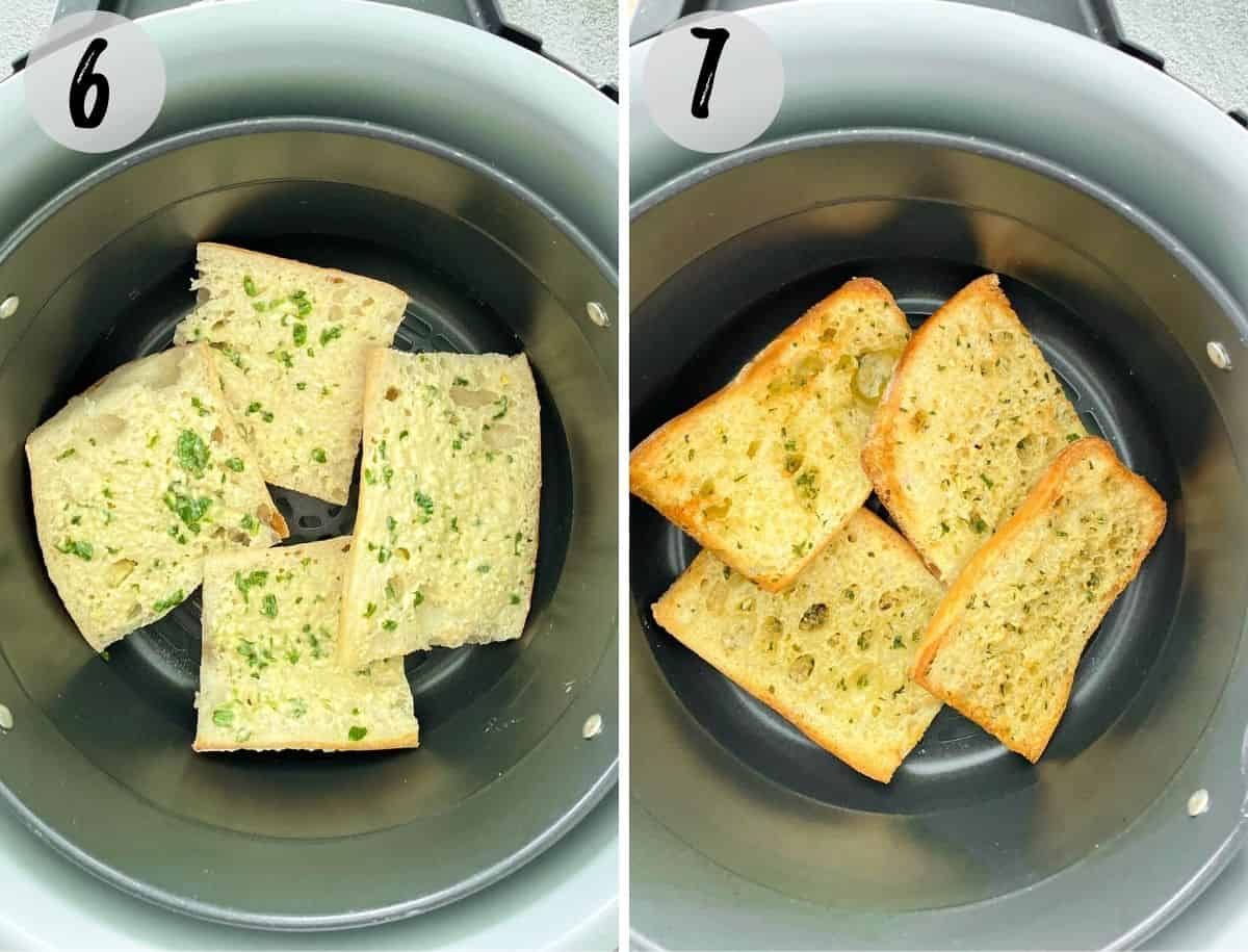 Garlic bread inside air fryer before and after cooking.