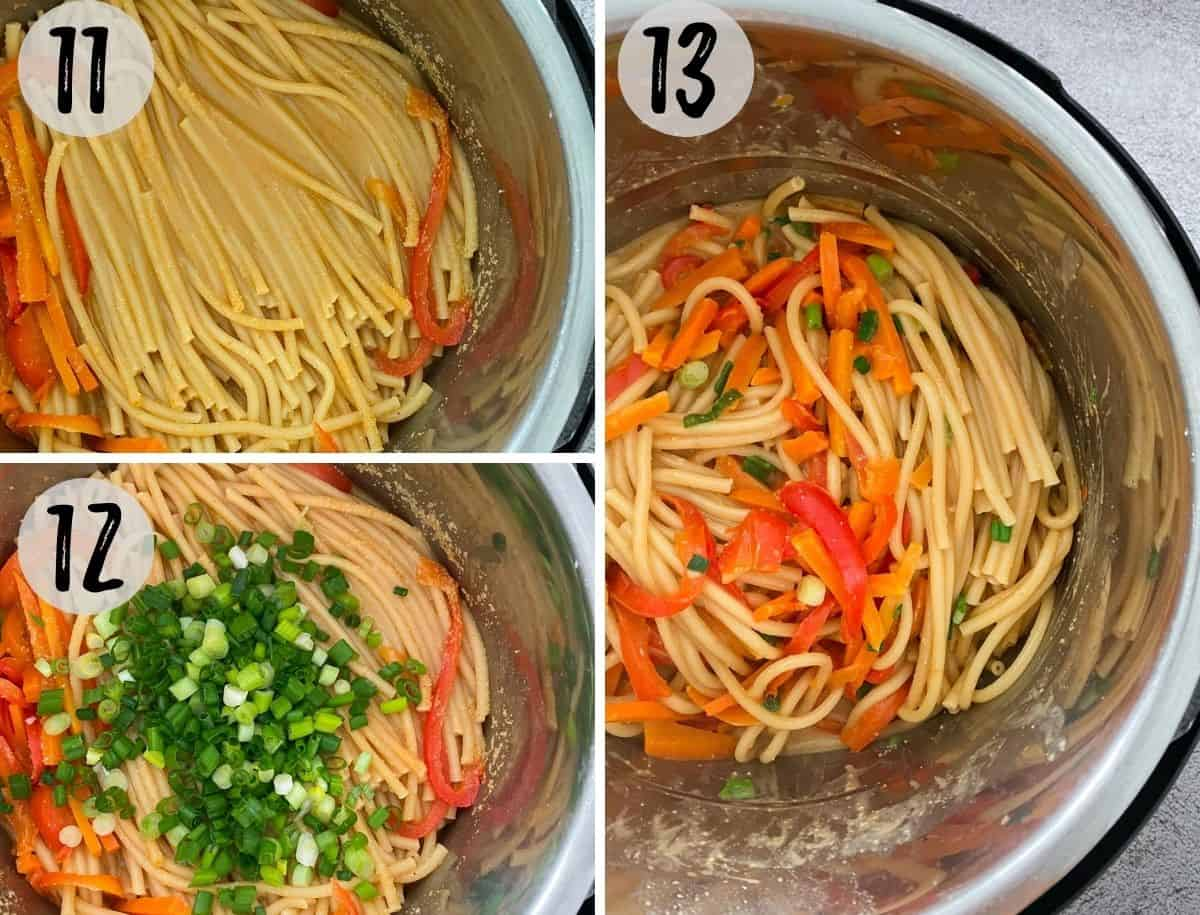 Cooked noodles and veggies inside pot with green onion on top.