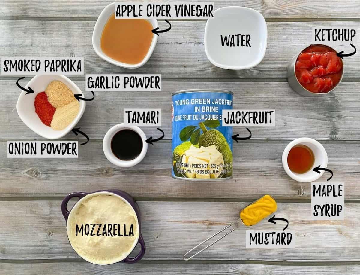 Ingredients needed to make bbq jackfruit on grey deck.