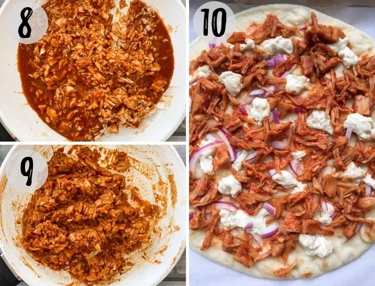 BBQ jackfruit in skillet and then on pizza crust.