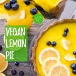 vegan lemon pie PIN with text overlay.