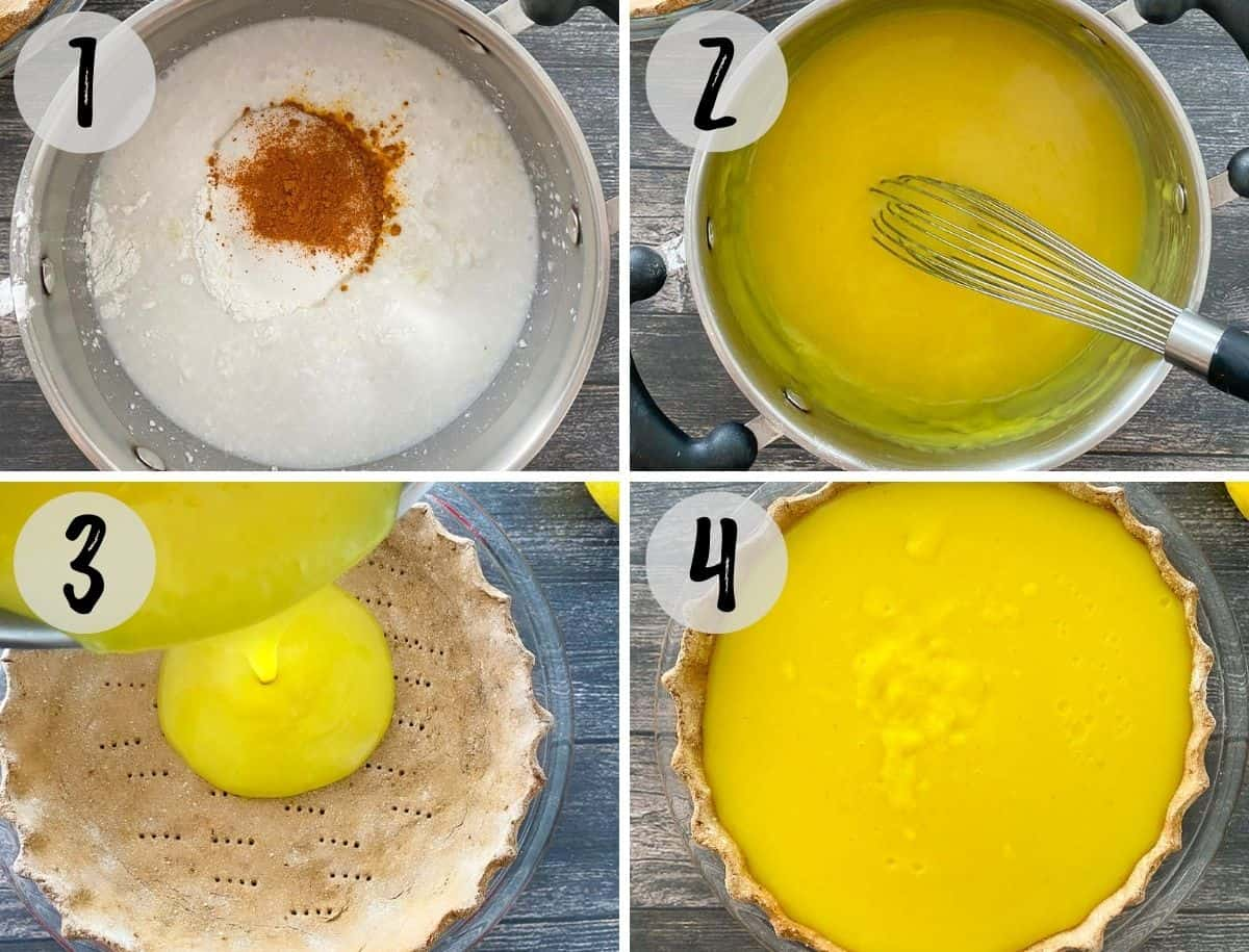 Collage of images: whisking lemon pie filling and then pouring it onto crust.