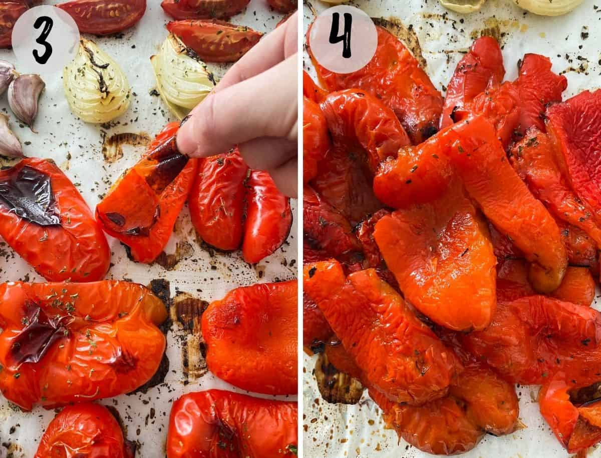 Skins being peeled off of roasted red peppers.