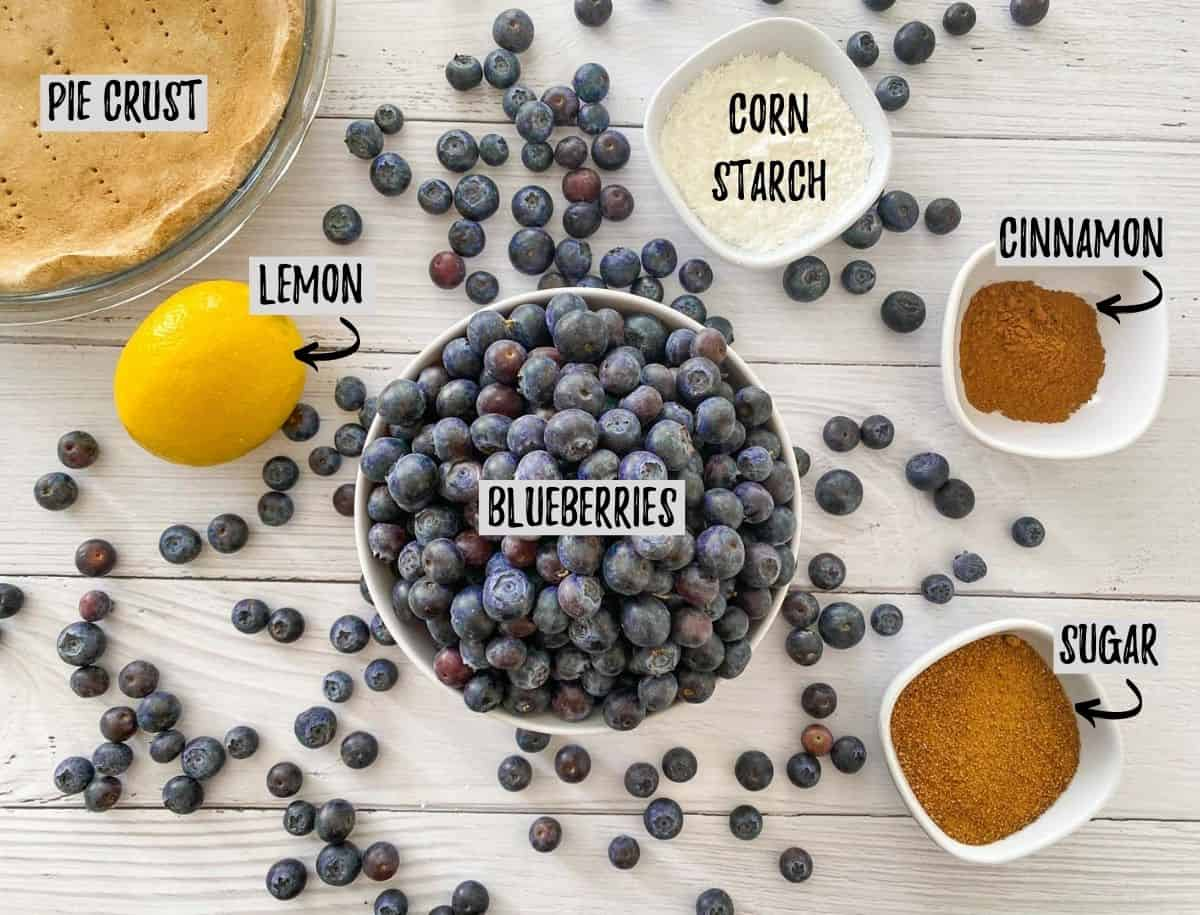 Blueberries, lemon and seasoning on white deck.