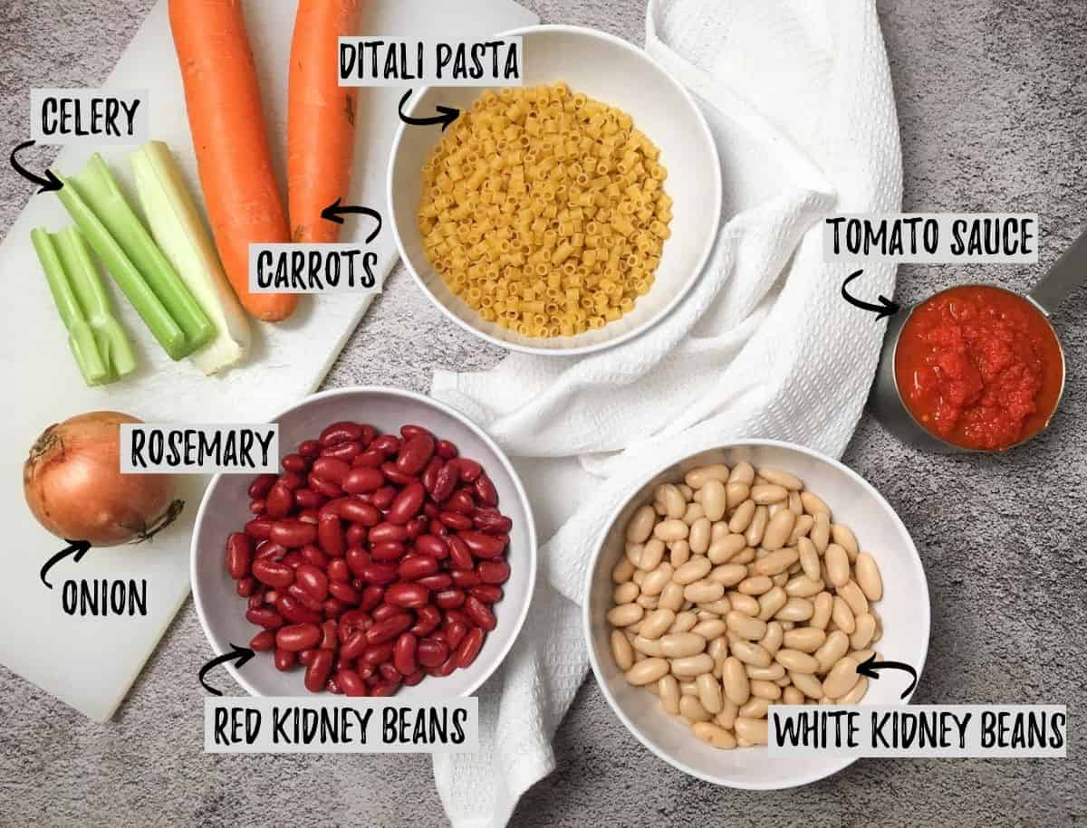 Ingredients needed to make pasta e fagioli scattered on concrete surface.