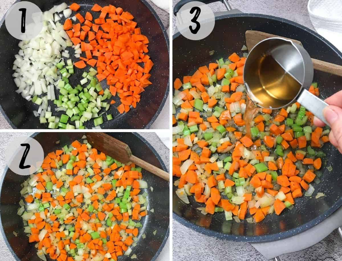 Onion, carrot and celery being sautéed in deep skillet.
