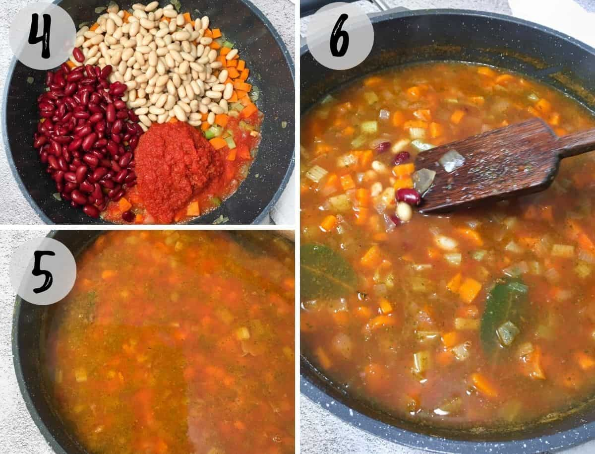 Deep skillet with beans, sautéed veggies, tomato sauce and seasoning cooking into soup.