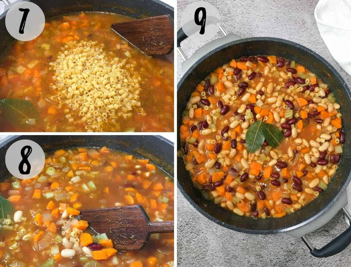 Pot full of beans, pasta, chopped carrots and bay leaves on top.