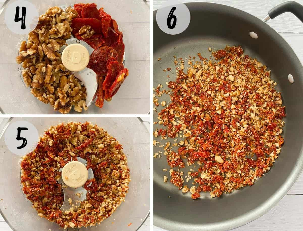 Walnuts and sun dried tomatoes in food processor being chopped.