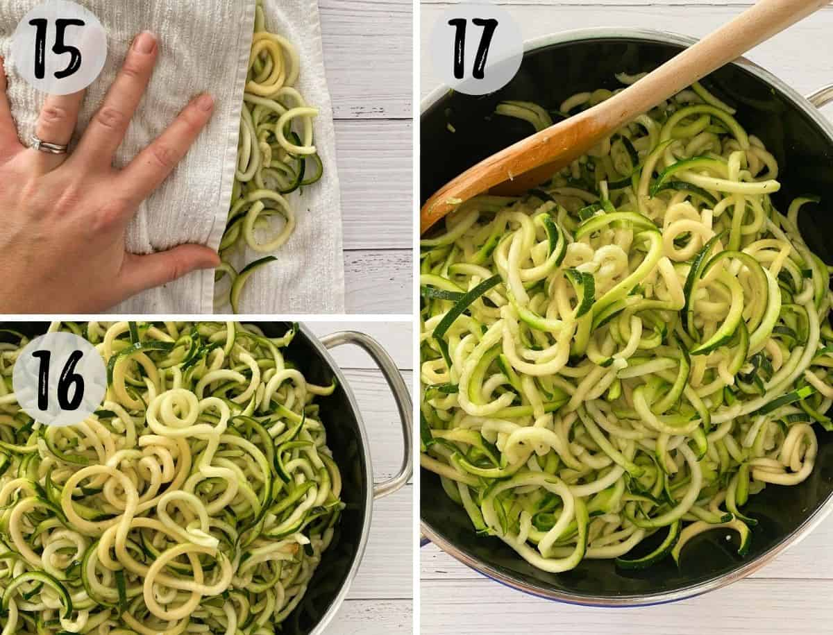 Pressing liquid out of zucchini noodles and then sautéing them.