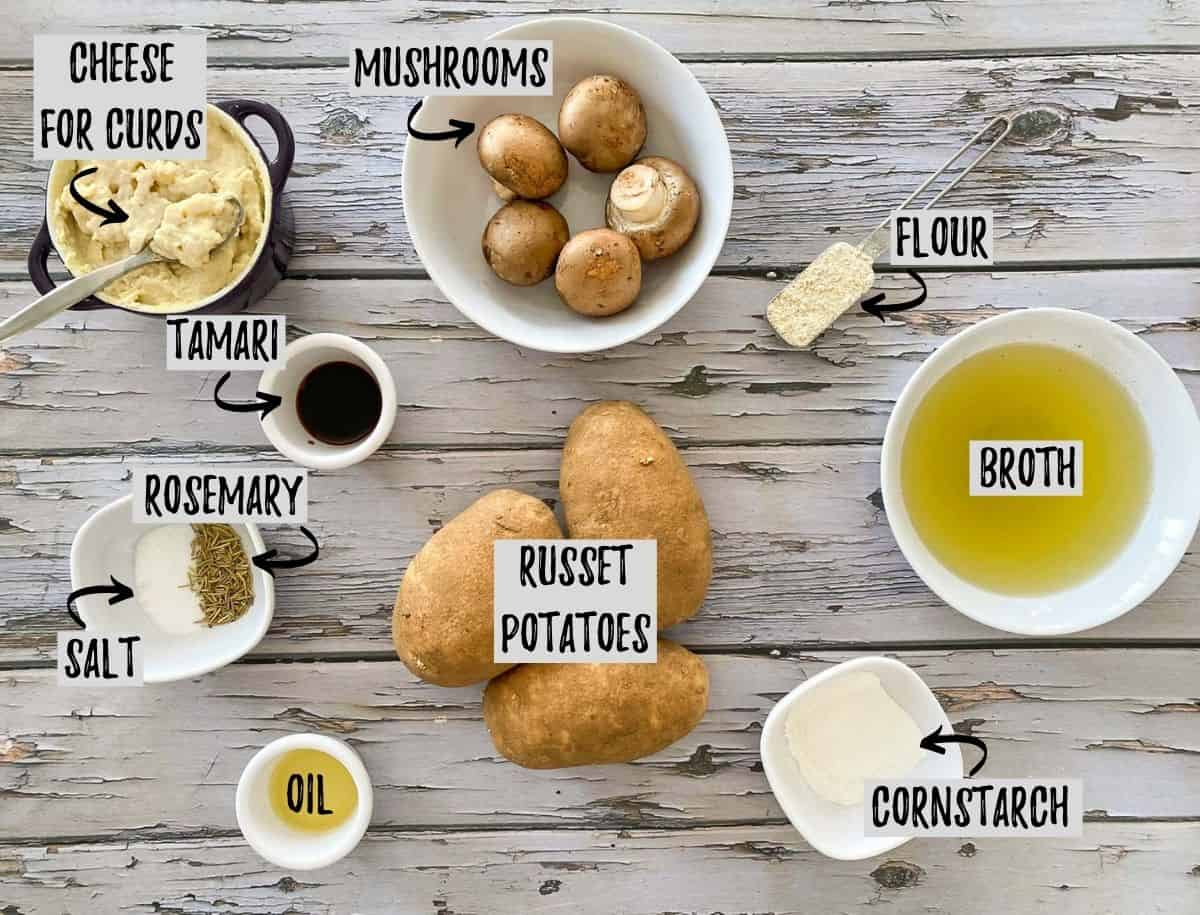 Ingredients needed to make vegan poutine on grey deck.