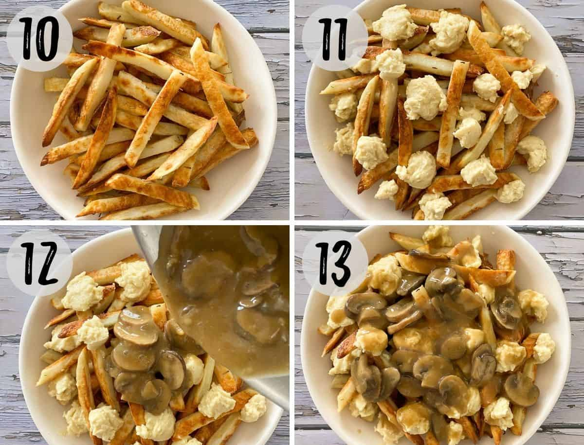 Collage of images assembling poutine in a white serving bowl.