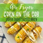 air fryer corn on the cob PIN with text overlay.