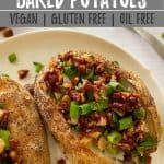 air fryer baked potato PIN with text overlay.