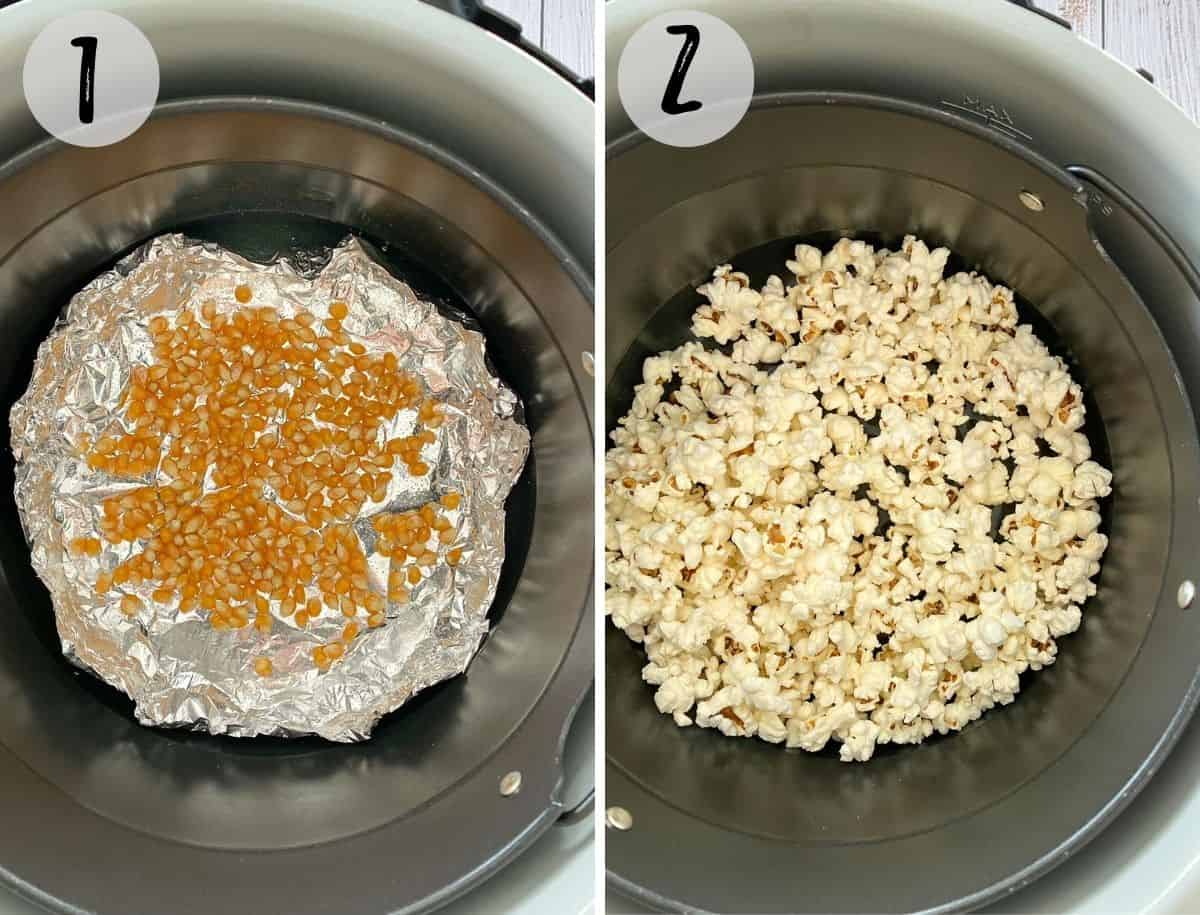 Air fryer with popcorn kernels before and after popping.