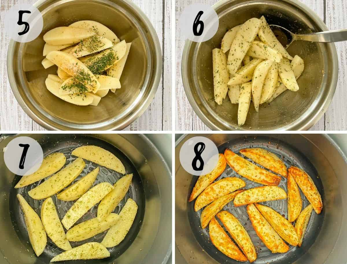 Raw potato wedges in mixing bowl with seasoning and then transferred to air fryer.