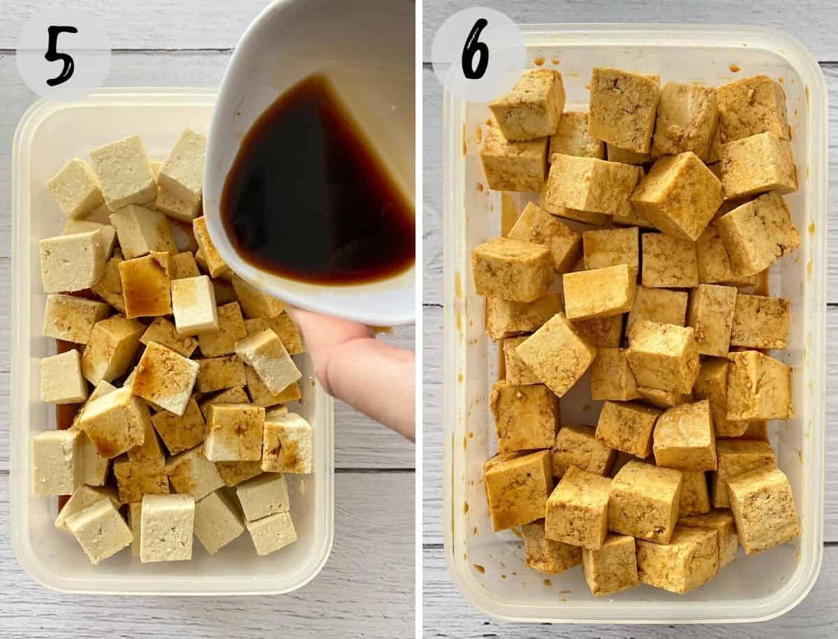 Marinade being poured on top of cubed tofu pieces.