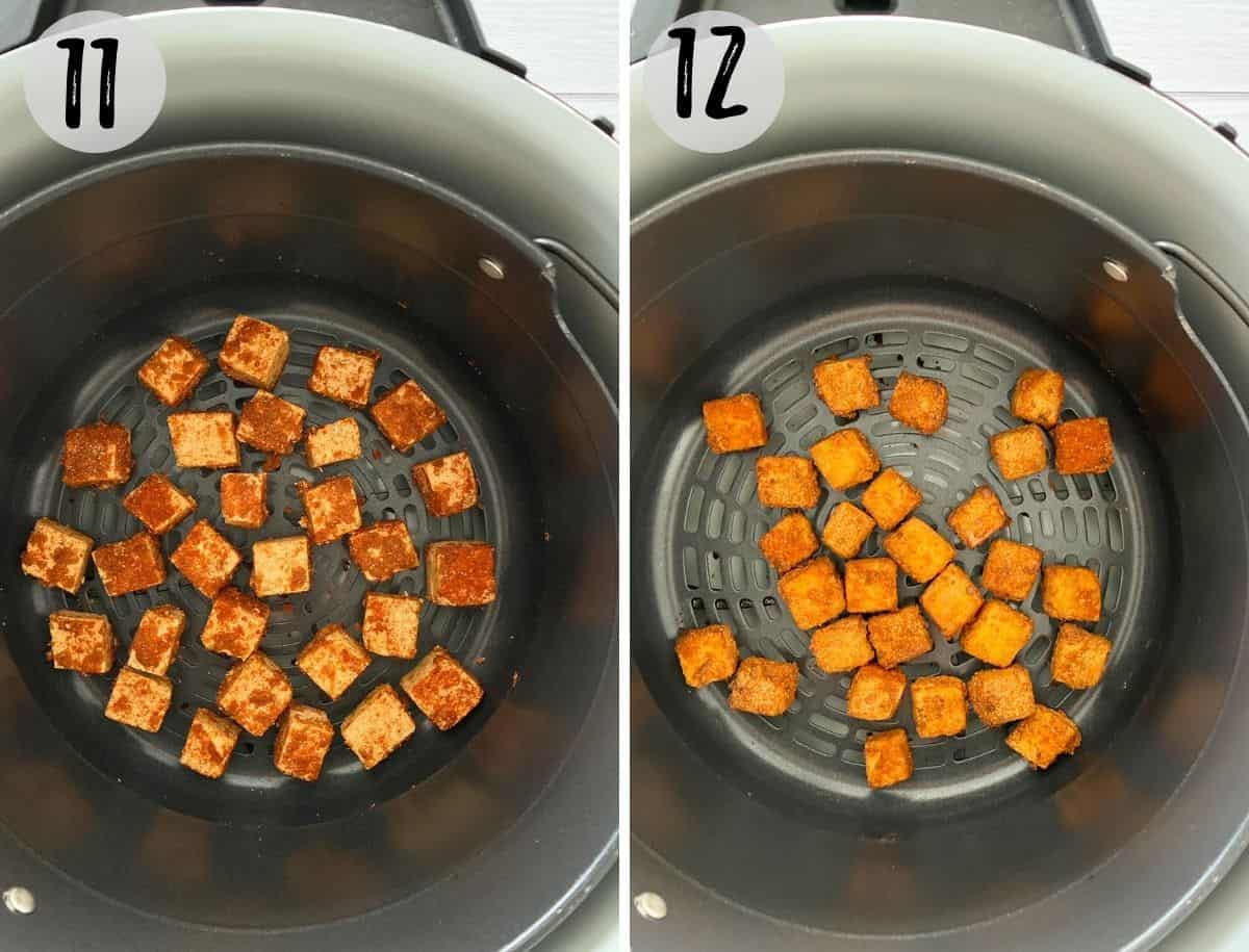 Tofu cubes inside air fryer basket before and after cooking.