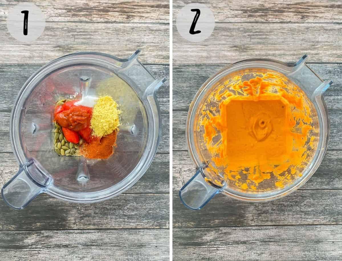 Pepitas, peppers, seasoning and water in blender being pureed.