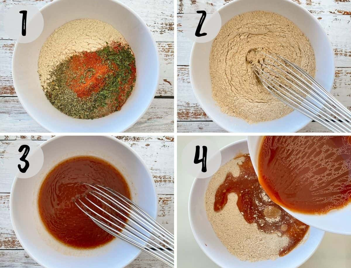 Dry ingredients being whisked together and wet ingredients being added to the bowl.