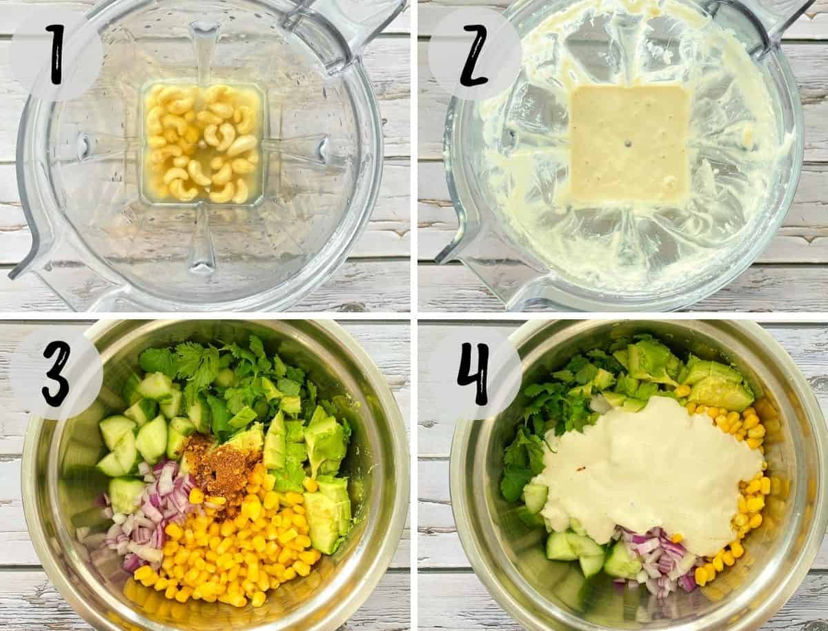 Blender with cashews and water blended into dressing and bowl of salad.