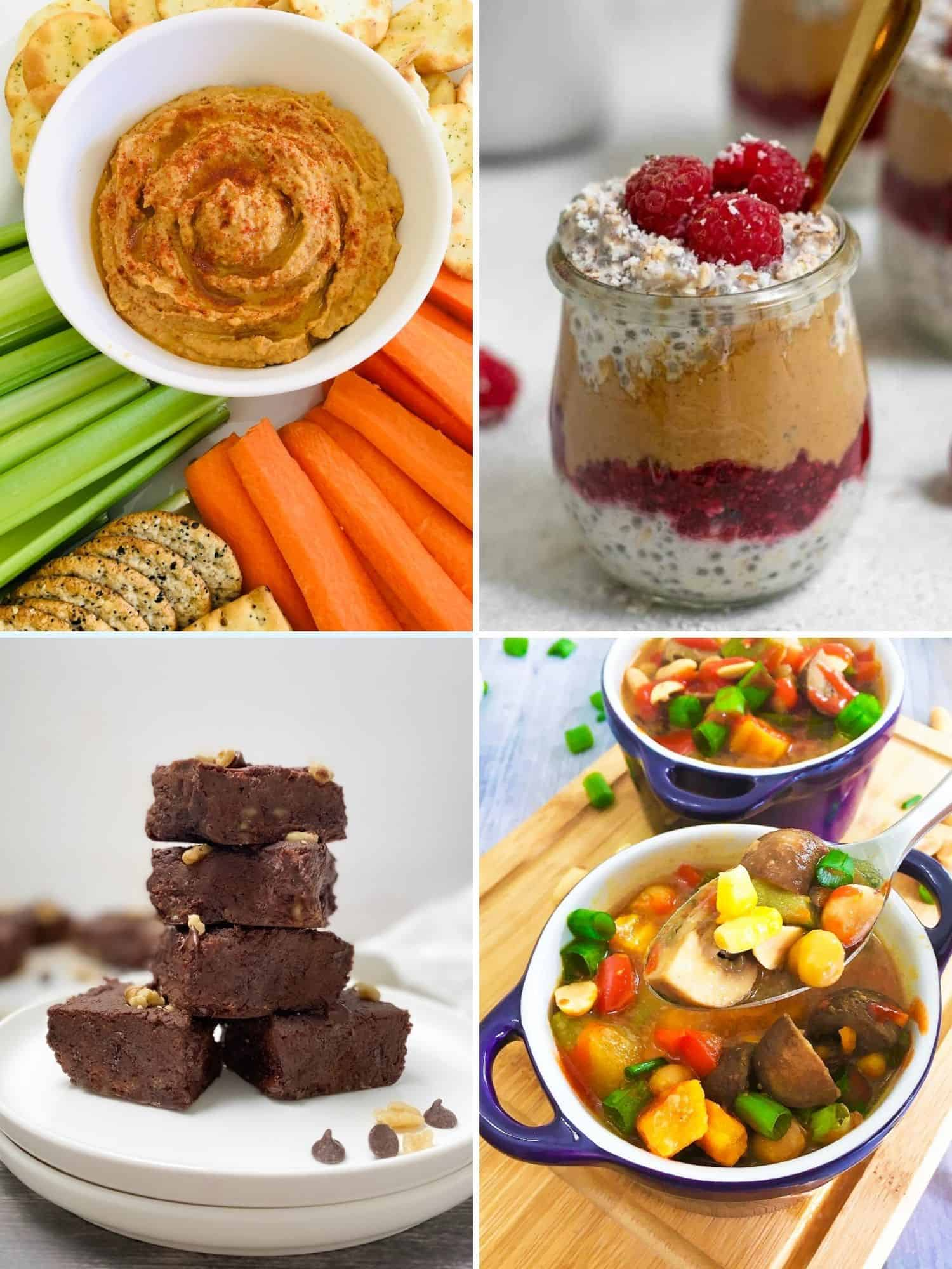 Peanut butter hummus, oats, brownies and soup in a collage grid.