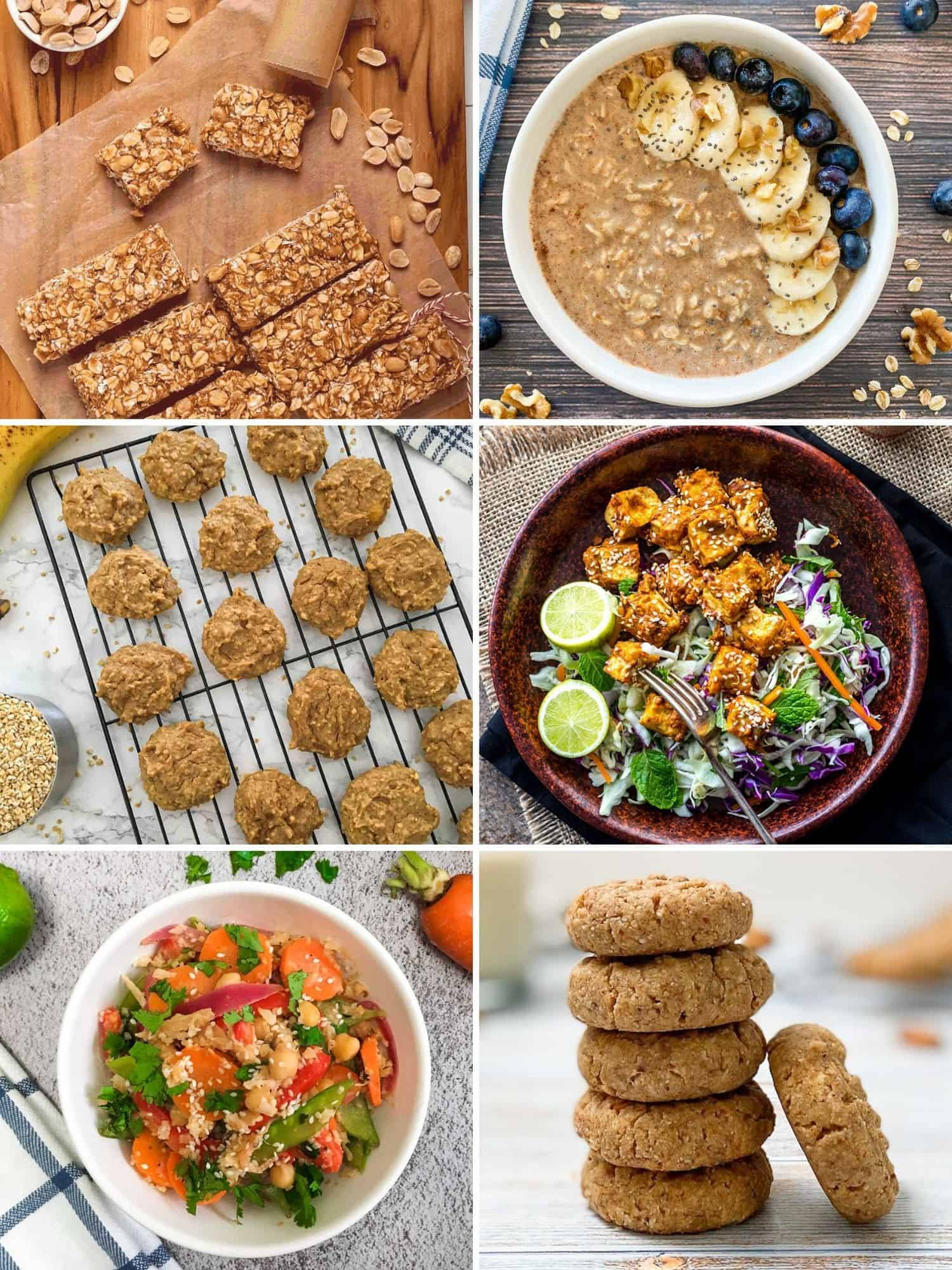 Grid of 6 images: bars, oatmeal, cookies, tofu, stir fry and cookies.