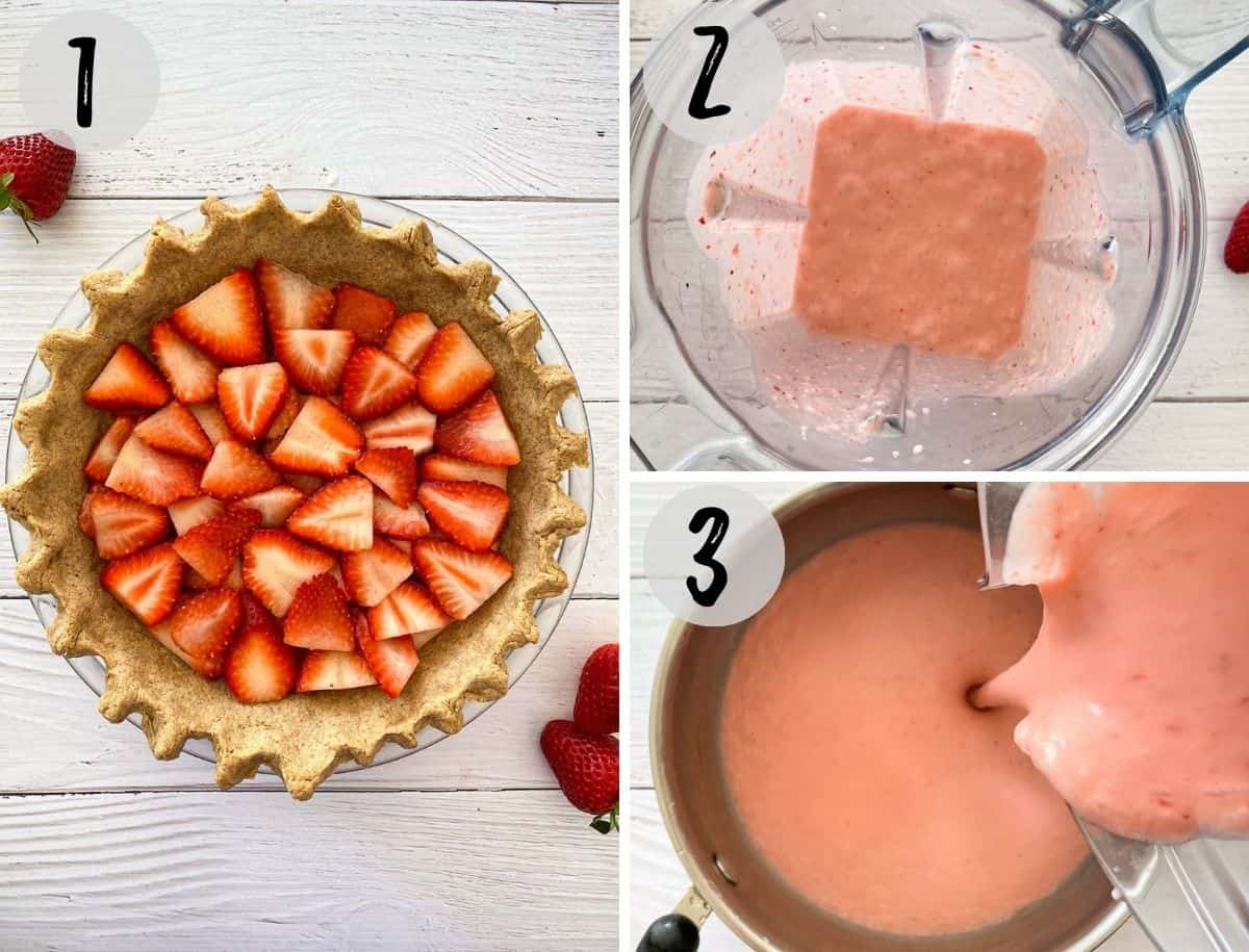 Pie crust with sliced strawberries arrange inside and pink pie filling being blended.