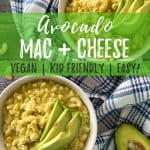 avocado mac and cheese pin with text overlay.