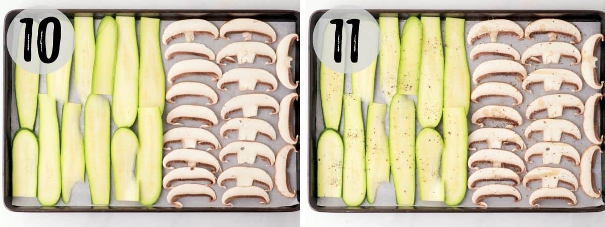 Sliced mushrooms and zucchini in large baking tray.