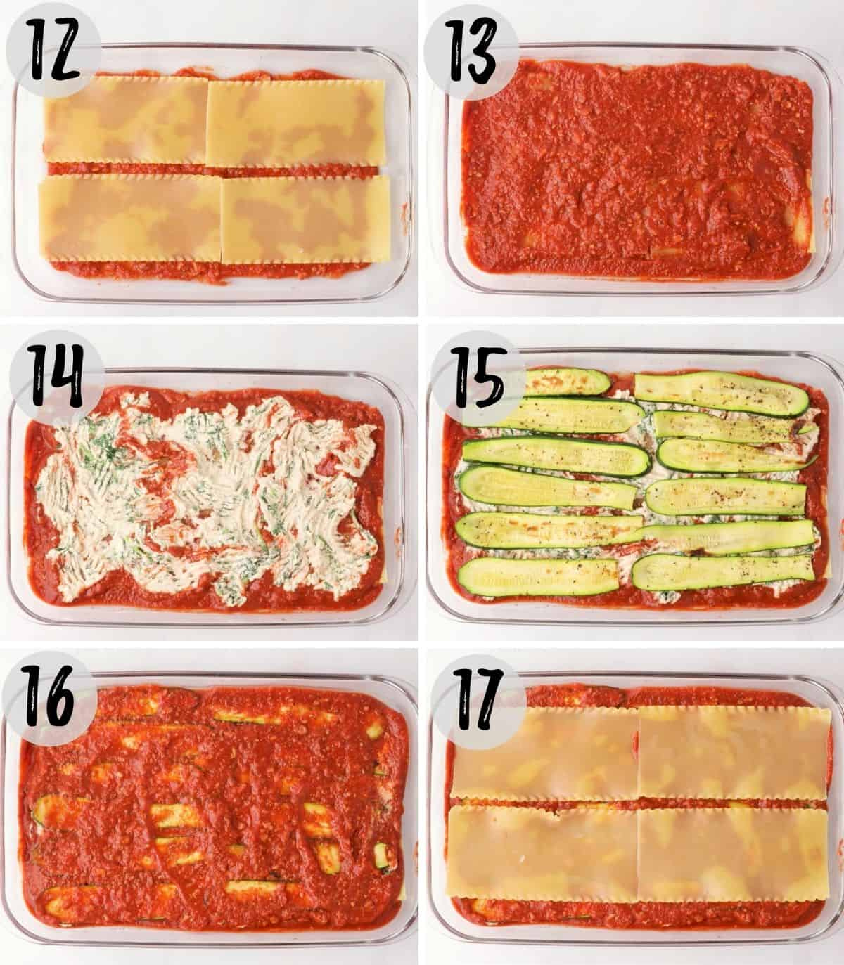 Collage of images showing layers of lasagna being added into tray.