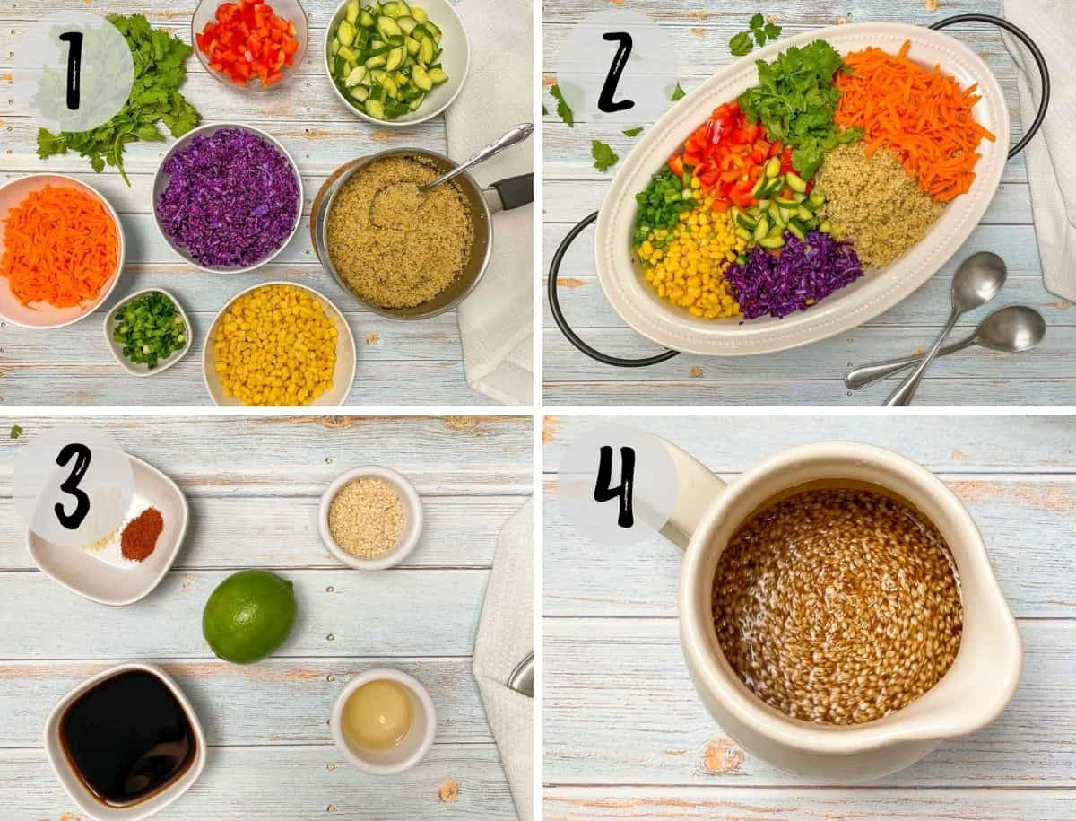 Image collage with salad ingredients in serving dish and dressing being made.