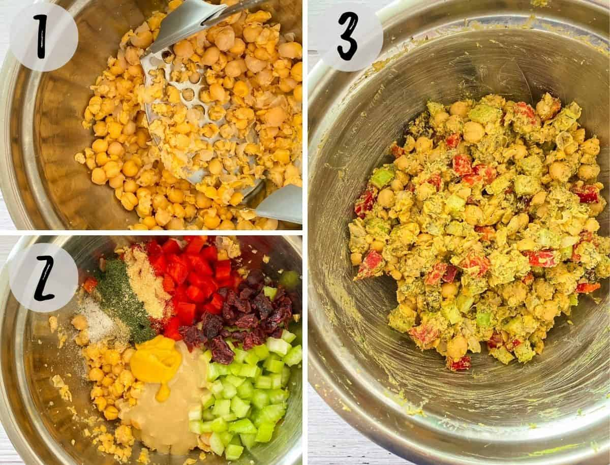 Chickpeas being smashed in bowl and then mixed with veggies, seasoning and tahini.