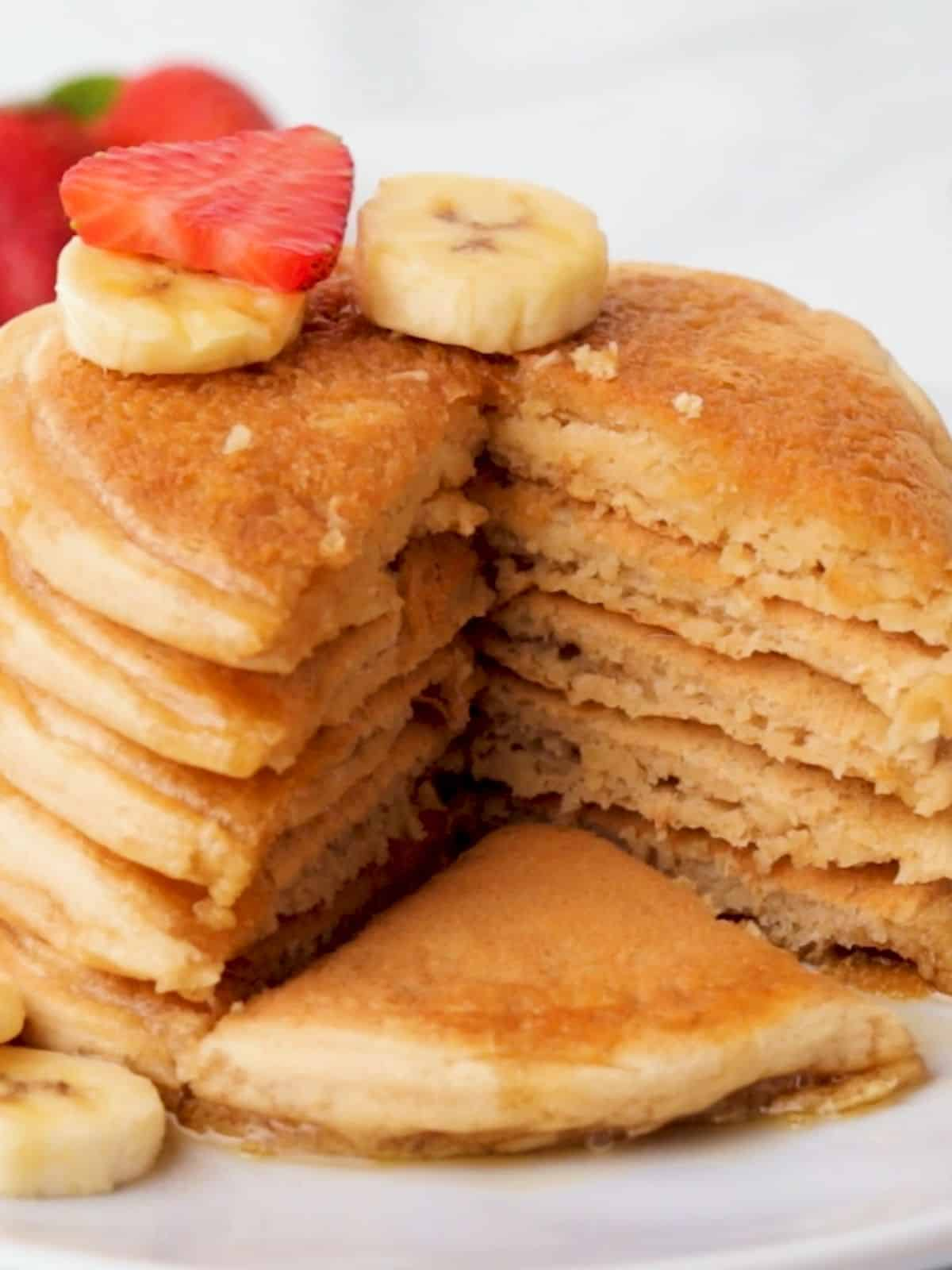 Pancake stack with triangular wedge cut through the stack.