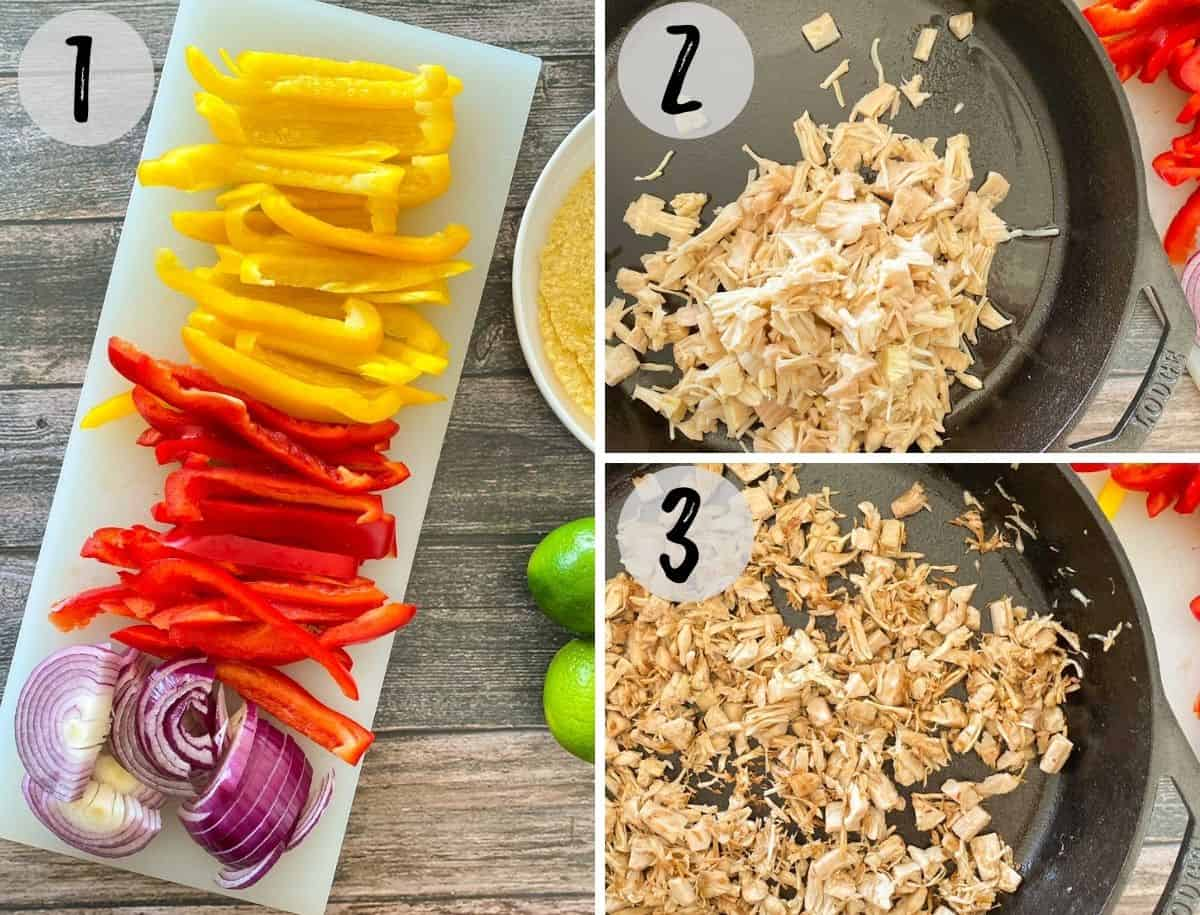 Sliced onion and peppers on cutting board and shredded jackfruit in pan.