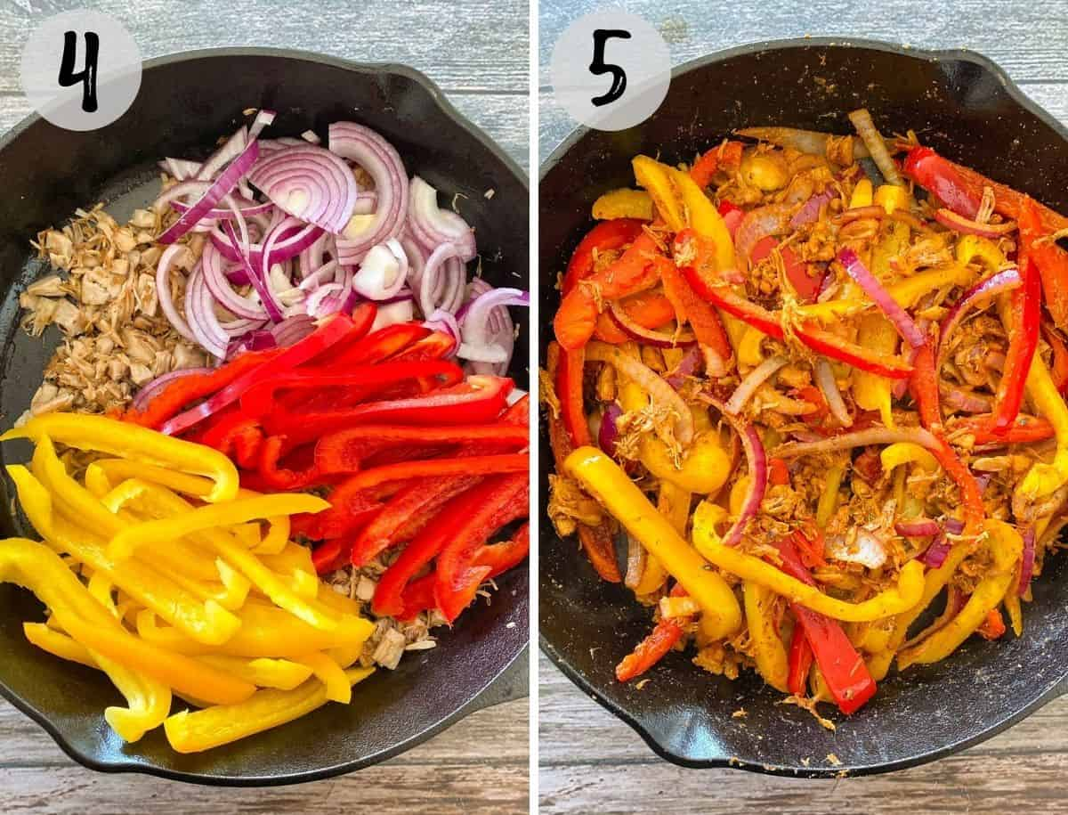 Cast iron pan with jackfruit, onion and peppers before and after cooking.