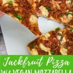 jackfruit pizza PIN with text overlay.
