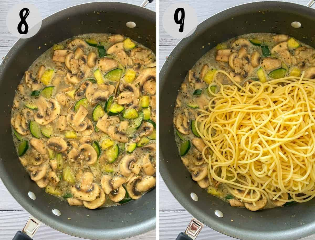 Pan of creamy sauce and veggies with spaghetti being added.
