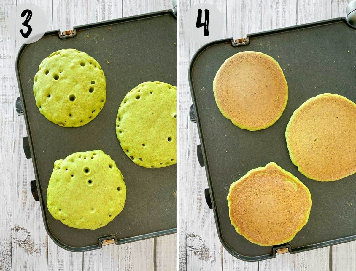 Green pancakes cooking on griddle before and after flipping.